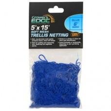 Grower's Edge Soft Mesh Trellis Netting 5 ft x 15 ft w/ 6 in Squares - Blue